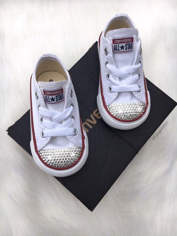 Baby Toddler Girls' Converse Chuck Taylor OX Scarpe Casual personalizzate con cristalli Swarovski