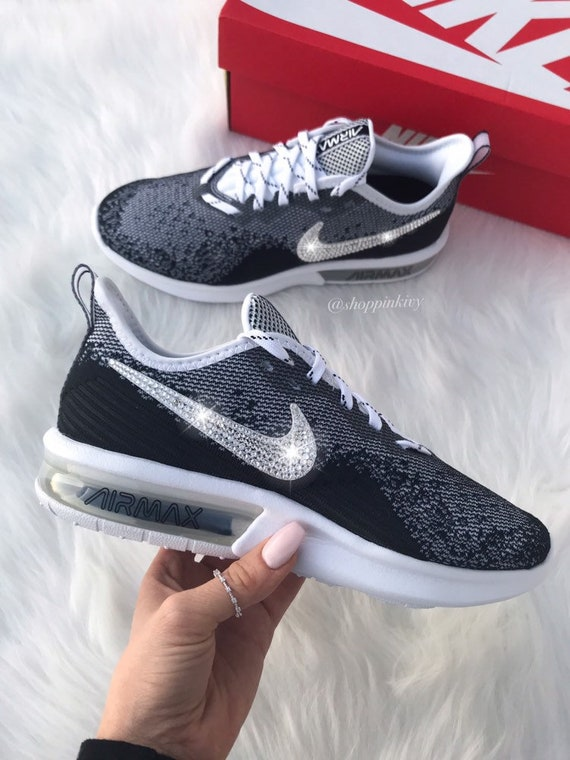 buy online dfd56 0dffe Swarovski Nike Air Max Sequent Shoes Customized With Swarovski   Etsy