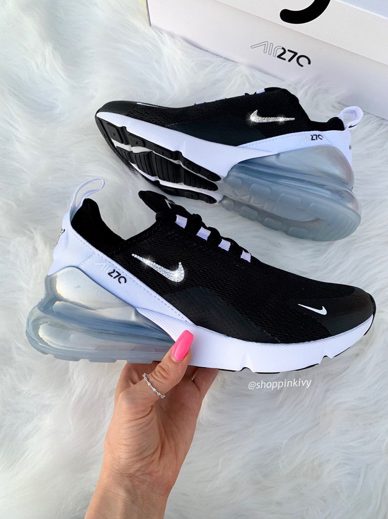 online store a4fdb 7384b Swarovski Nike Air Max 270 Shoes Blinged Out With Swarovski Crystals Bling  Nike Shoes Black/White