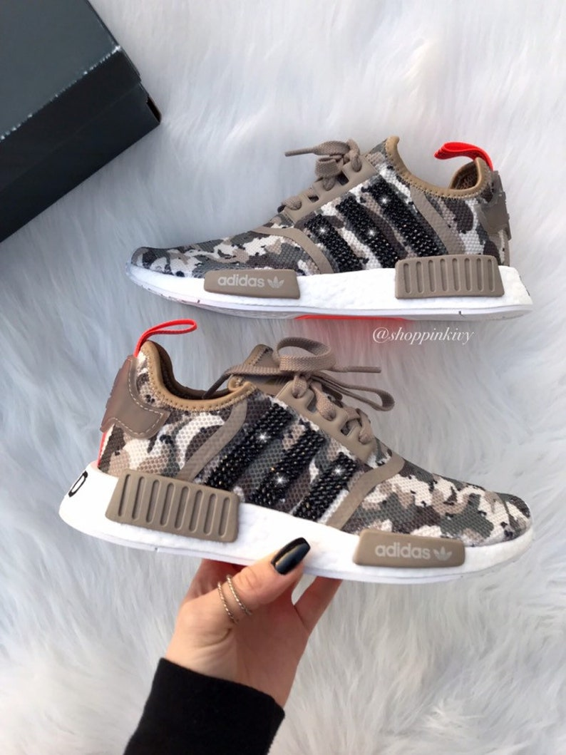 cf10e3fa1f27 Tan Camo Swarovski Adidas Womens Girls NMD Customized With