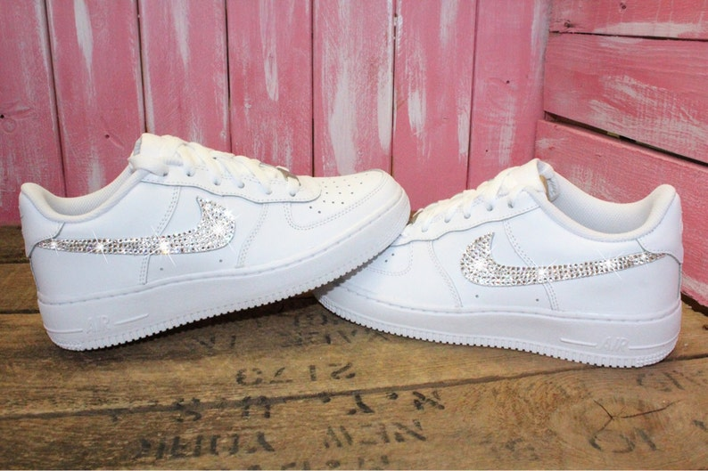 huge selection of 16a83 e8fc5 Swarovski Nike Air Force 1 Women's Shoes Blinged Out With Swarovski  Crystals Bling Nike Shoes White