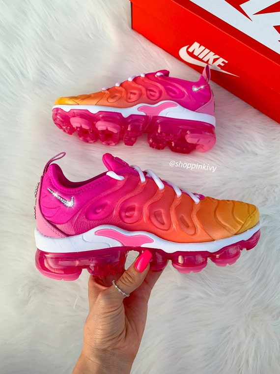 on sale 1e574 f2f5b Swarovski Nike Air Vapormax Plus Shoes Blinged Out With Swarovski Crystals  Bling Nike Shoes Pink