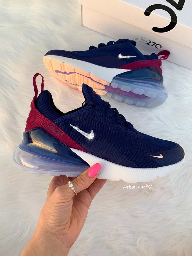 Swarovski Nike Air Max 270 Schuhe Blinged Out mit Swarovski Kristalle Bling Nike Schuhe Denim