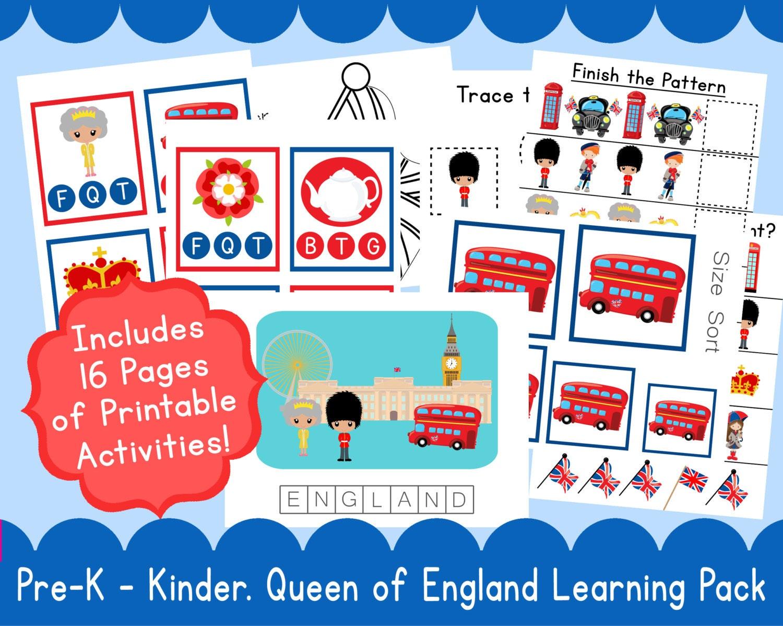 Queen PreSchool Kindergarten Learning Pack Q is for Queen E is | Etsy