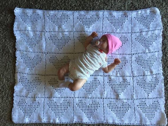 Heart Baby Blanket Filet Crochet Etsy