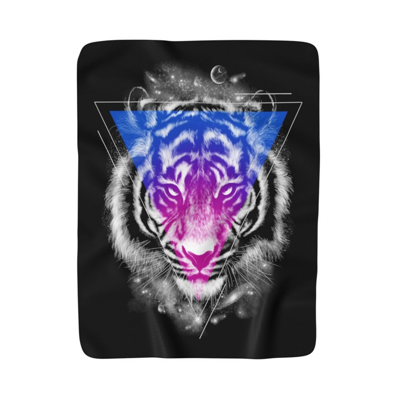 Cozy BlanketColorful Galaxy Space Nebula Stars Tiger Animal Abstract Planets Visionary Art Festival Gypsy Boho Decor Sherpa Fleece Blanket