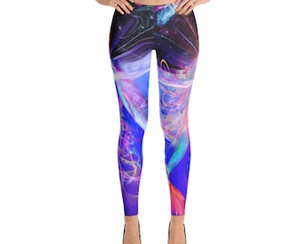 Colorful Ocean Dolphin Mermaid Kissing Visionary Art Festival Leggings