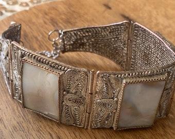 Vintage Chinese silver filigree panel bracelet