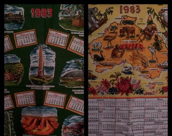 1983 Souvenir of Australia Calendar x 6 * Australian Aborigines * Cotton Tea Towel * Vintage * Shabby Chic * Kitsch * Map of Australia