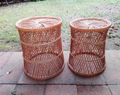 Set of 2, nesting, round Cane, Wicker Occasional Tables, Plant stands, Planter baskets, waste Paper Baskets. Cane ware.