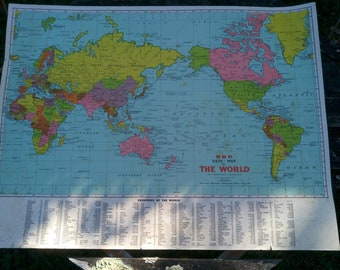 School map etsy vintage world map desk map wall map made by ubd australia office study decor gumiabroncs Image collections