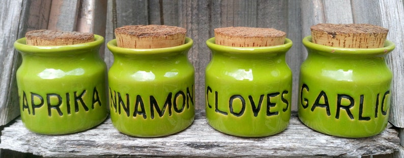 Vintage Retro 70 S Florenz Pottery Set Of 4 Green Spice Etsy