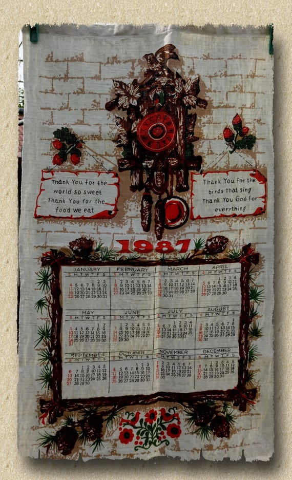 Retro Kitsch 1987 Calendar Tea Towel Lords Prayer Linen Etsy