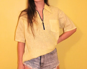 9095e42f01 The Mellow Yellow Summer Shirt  1960s Sears Vintage Perma-Prest Island Pale  Yellow Men s Unisex Zip Short Sleeve Collared Shirt