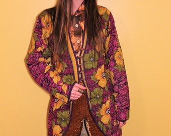 ad8c2fdbc4 The Hendrix Dreamcoat  RARE 1970s Vintage Reversible Upcycled India Sari  Purple Floral Flower Power Patchwork Hippie Cloth Trench Jacket