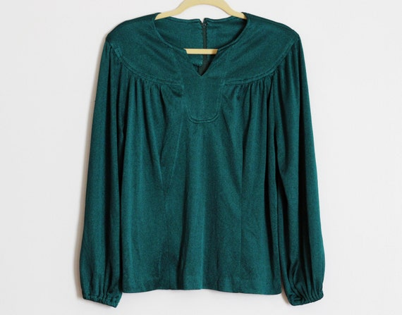 Oh Forest Green Blouse: 1970s Retro Dark Green Lon