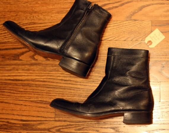 1970 Chelsea Boots noir années de zip Les 8 PresleyVintage cuir bottes des hommes taille en 08OnkwPX