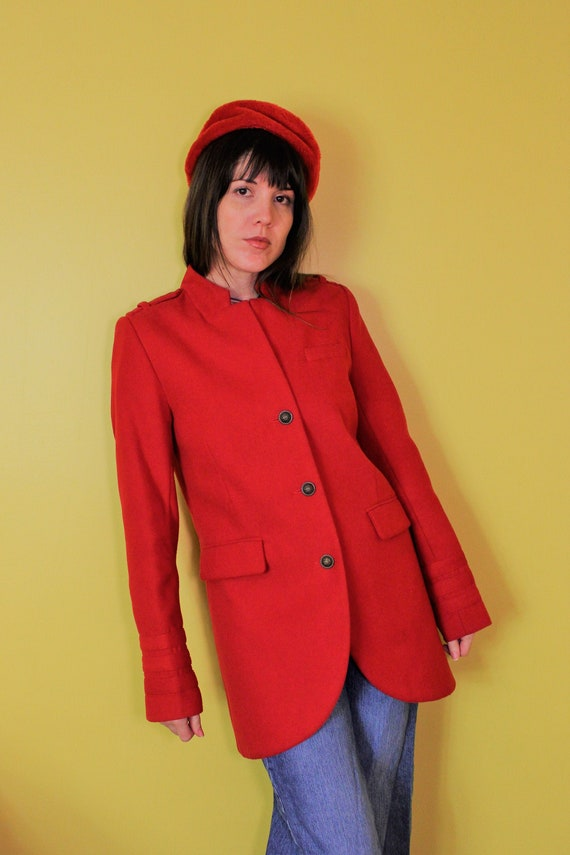 The Royal Red Trench: 1990s Vintage Red Wool Milit