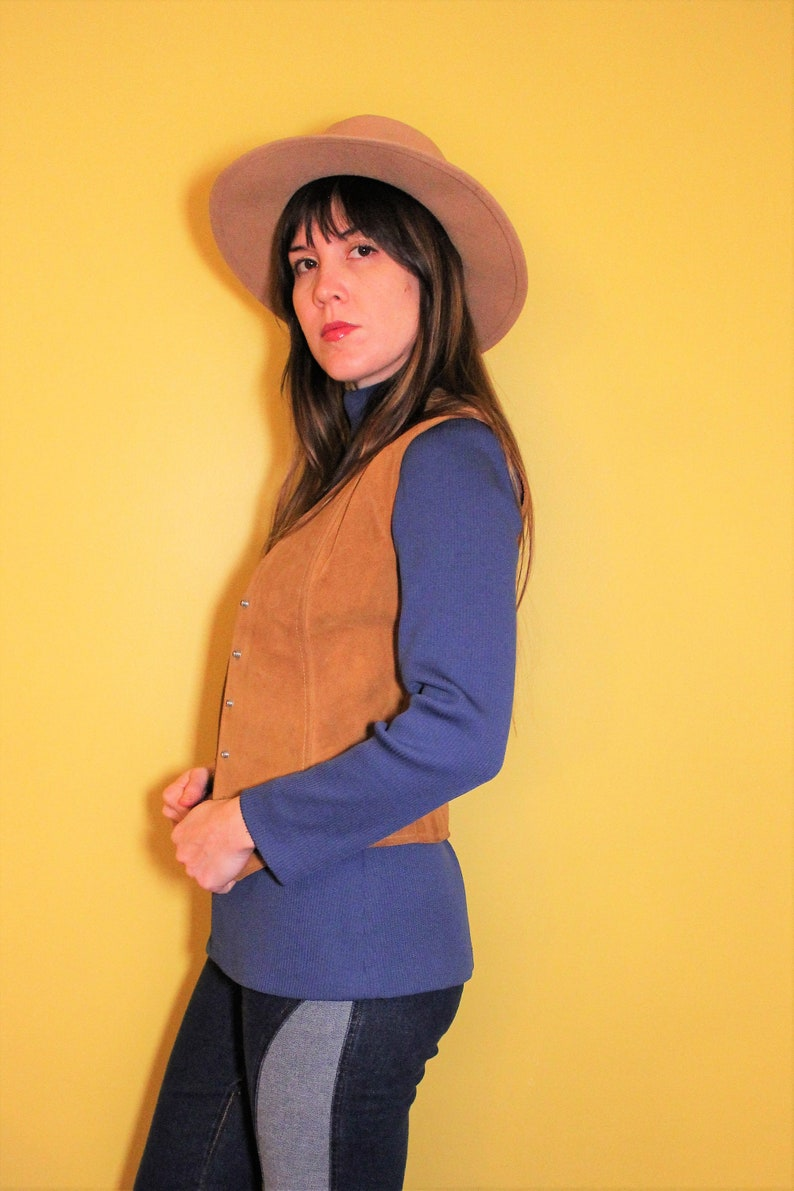 Unisex 1970s Vintage Leather Tan Camel Suede Hippie Retro Western Button Up Snap Vest By Vakko New York Size Small The Anna Suede Vest