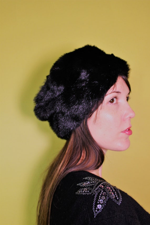The Like A Panther Hat: Vintage Black Faux Fur Mod