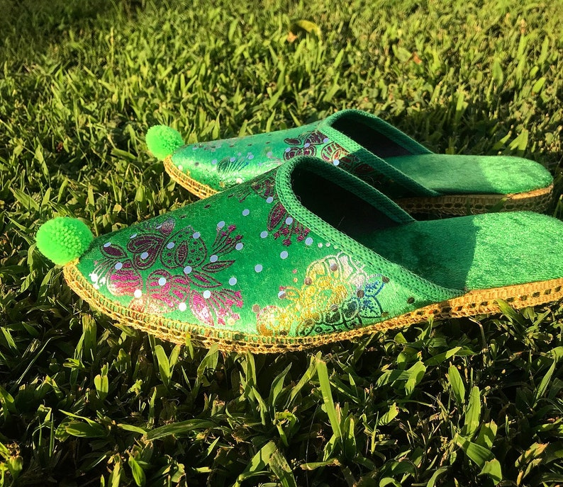 006c98ae602 The Emerald City Slippers  Women s Vintage Green Velvet