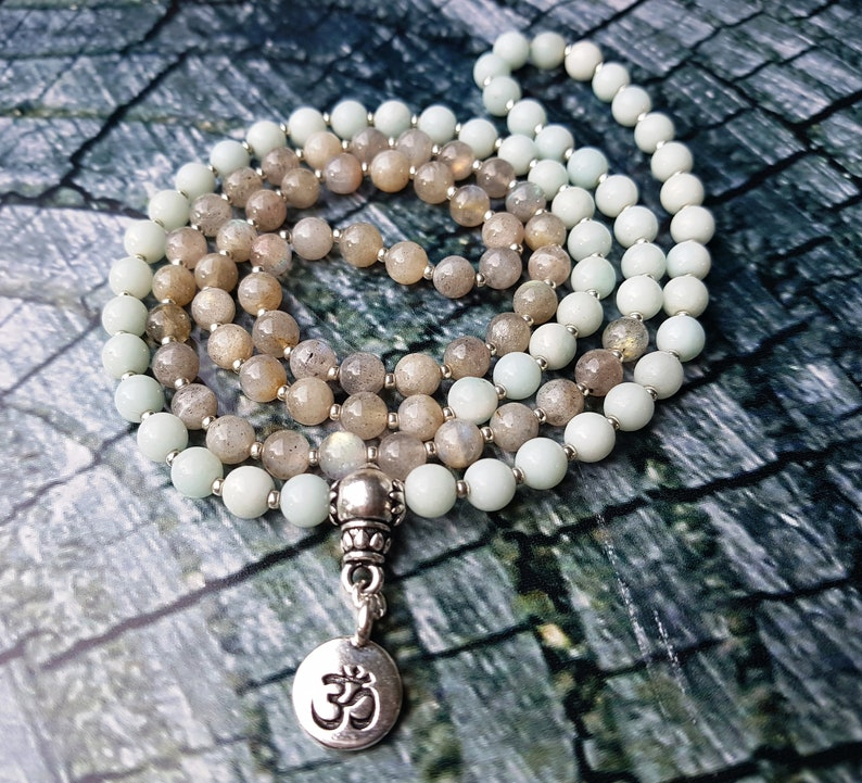 108 Beads Mala Bracelet; 6mm Labradorite /& Amazonite Gemstone Beads