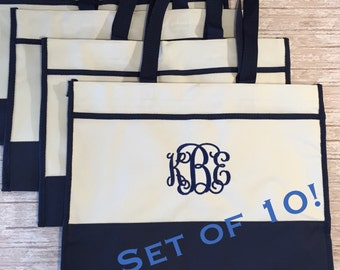 Set of 10- Monogrammed Tote Bags- Bridesmaids Gifts- Bridal Party Gift Bags- Canvas Tote Bag- Personalized Gifts