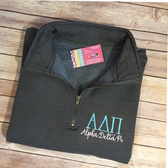 Alpha Delta Pi Quarter Zip, Alpha Delta Pi Pull Over, Greek sweatshirt, ADPi quarter zip, Alpha Delta Pi sweatshirt, sorority sweatshirt