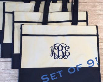 Set of 9- Monogrammed Tote Bags- Bridesmaids Gifts- Bridal Party Gift Bags- Canvas Tote Bags- Personalized Gifts