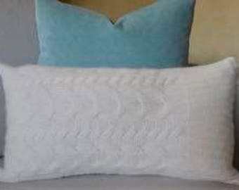 100% Sheltand and Angora Wool Cable Knit Pillow