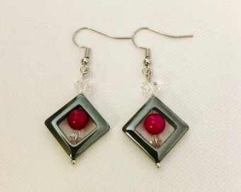 Silver square and beaded accent earrings, statement earrings, beaded earrings
