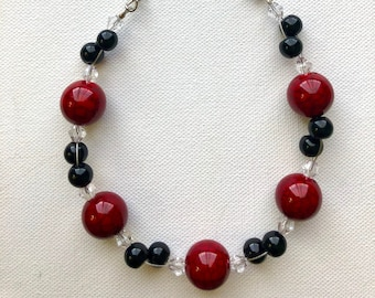 Vibrant Clay Bead Necklace, Red and Black beaded Jewelry, Statement Necklace