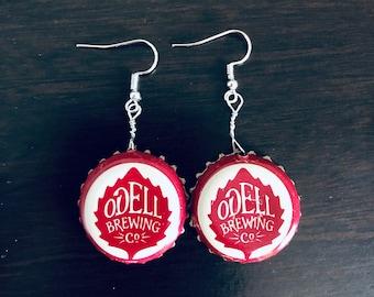 Odell Brewing Beerings, bottle cap earrings, bottle cap art, bottle cap jewelry, beer lovers, summer accessories