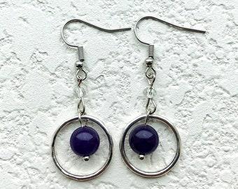 Purple bead and silver hoop dangle earrings, statement earrings, beaded earrings, silver hoop earrings