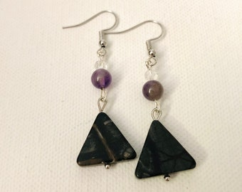 Geometric bead and crystal earrings, Statement Jewelry, Crystal Accents