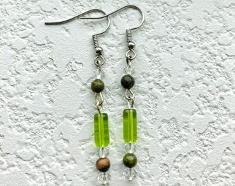 Beaded crystal tube earrings, statement earrings, gifts for her, glass bead earrings