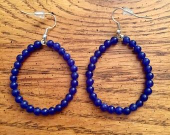 Blue beaded hoop earrings, large beaded hoops, beaded earrings, beaded hoops, blue hoop earrings