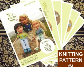 Tree Change Dolls® Knitting Pattern #4 Two Button Cardigan, by Sonia and Silvia Singh