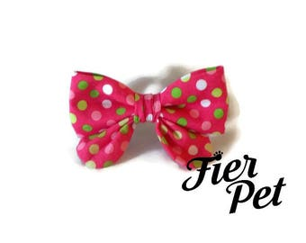 girly bow for dog collar,multi dot pink, bowtie for dog ,cat collar,bow tie,, collar ,fier-pet,fierpet,