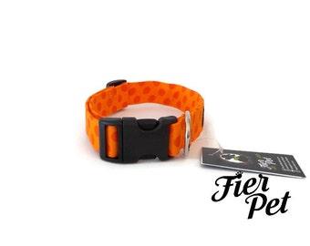 dog collar, orange ta dot ,orange, pet accessories ,Designer dog collar,collar,adjustable collar,fier-pet