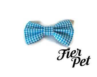 Bow tie for dog collar,bowtie ,vichy blue, gingham bleu, bow, collar and bow, fier-pet,fierpet,large dog collar,dog accessories