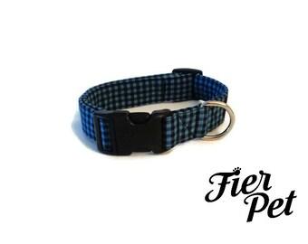 Designer dog collar,gingham black and navy, collar,adjustable collar,fier-pet