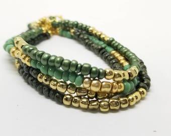 Earth Green & Gold Czech Stacked Bracelets