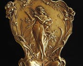 Vintage Art Nouveau Brass Repousse Cameo Wood Nymph Fairy Playing Harp Dragonfly Flower Brooch