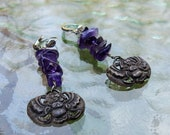 Vintage Egyptian Revival Silver Tone Stacked Amethyst Nuggets with Kherpi Beetle Scarab Amulet Charm Dangling Earrings