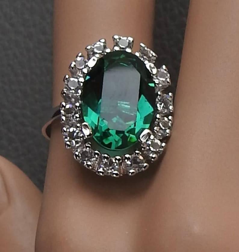 55a2f1662d026 Vintage Uncas Art Deco Sterling Silver Faux Emerald & Faux Diamond Halo  Cocktail Statement Ring