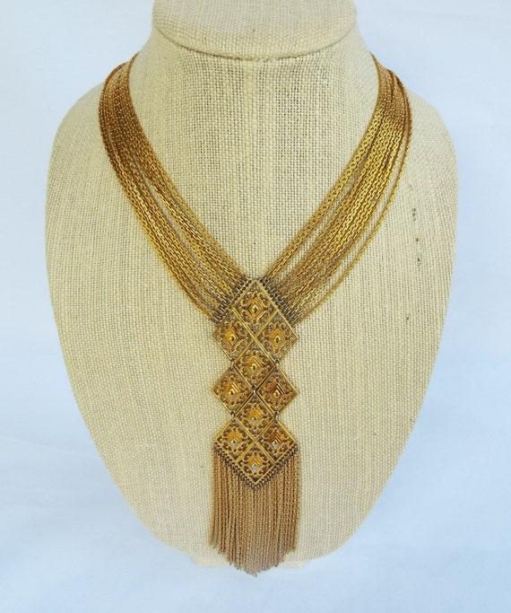 Vintage Monet Etruscan Runway Waterfall Multi Chain Fringe Tassel Necklace