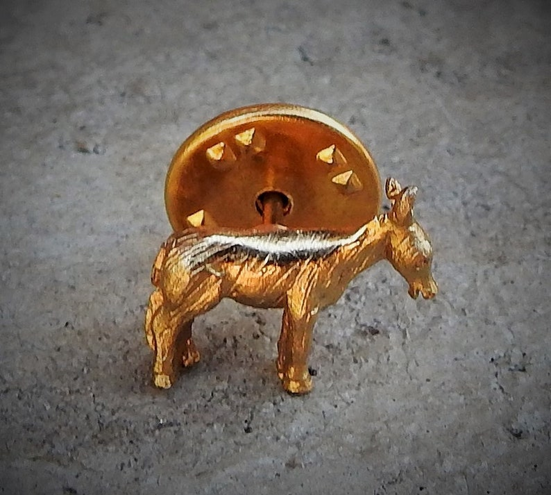 Vintage Gold Tone Democratic  Donkey Scatter Pin  Brooch  Lapel Pins  Lapel Pin  Hat Pin