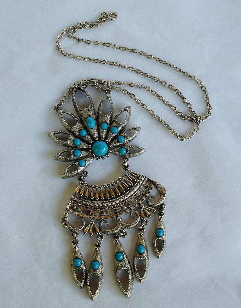 Vintage Egyptian RevivalTribal Tibetan  Bedouin Silvertone /& Turquoise Lavalier Statement Pendant Necklace w Articulated Dangling Charms