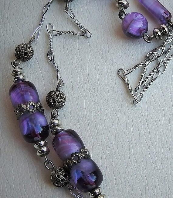 Vintage Purple Glass Bar Necklace